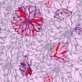 Nahtloses Muster mit Dahlie und Blättern Lizenzfreies Stockfoto