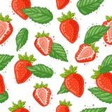 Nahtloses Muster mit Dekoration der frischen Beere, der Erdbeerscheiben und der Minze Der Hintergrund zu den Bestandteilen für Lizenzfreie Stockfotos