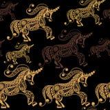 Nahtloses Muster mit dekorativem Einhorn 6 Lizenzfreies Stockfoto