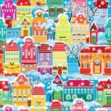 Nahtloses Muster mit dekorativen bunten Häusern I Stockfotos