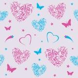 Nahtloses Muster mit dekorativen Herzen Lizenzfreie Stockbilder