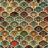 Nahtloses Muster mit dekorativen Mandalen Weinlesemandalaelemente Stockfotografie