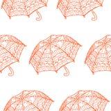 Nahtloses Muster mit dekorativen Regenschirmen Stockbild