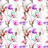 Nahtloses Muster mit dekorativen Sommerblumen Lizenzfreies Stockfoto