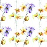 Nahtloses Muster mit dekorativen Sommerblumen Stockfotos