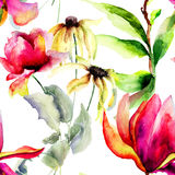 Nahtloses Muster mit dekorativen Sommerblumen Stockbild