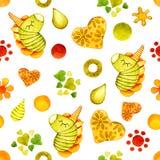 Nahtloses Muster mit dem Bild eines Einhornponys Aquarellkarikaturillustration für Entwurf von Drucken, Aufkleber, Hintergrund, lizenzfreie abbildung
