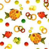 Nahtloses Muster mit dem Bild eines Fisches Aquarellkarikaturillustration für Entwurf von Drucken, Aufkleber, Hintergrund, Karten vektor abbildung