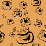Nahtloses Muster mit dem Bild eines Tasse Kaffees mit Toast mit Spiegeleiern Stockbild