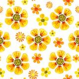 Nahtloses Muster mit dem Bild von Blumen Aquarellkarikaturillustration für Entwurf von Drucken, Aufkleber, Hintergrund, Karten, stock abbildung