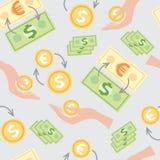 Nahtloses Muster mit dem Bild von Löhnen, Geld Stockfoto