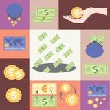 Nahtloses Muster mit dem Bild von Löhnen, Geld Stockbilder