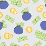 Nahtloses Muster mit dem Bild von Löhnen, Geld Lizenzfreies Stockbild