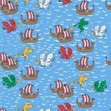 Nahtloses Muster mit dem Drachen, der Wikinger-Schiffe in Angriff nimmt lizenzfreie abbildung