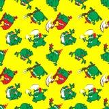 Nahtloses Muster mit dem Frosch königlich lizenzfreie abbildung
