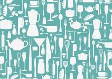 Nahtloses Muster mit dem Kochen des Ikonenhintergrundes Stockbild