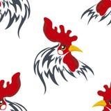 Nahtloses Muster mit dem Kopf eines Hahnes Lizenzfreies Stockbild