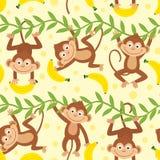 Nahtloses Muster mit dem lustigen Affen, der von der Liane hängt vektor abbildung