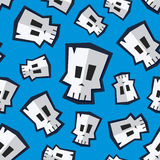 Nahtloses Muster mit dem lustigen Karikaturschädel Stockbilder