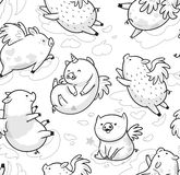 Nahtloses Muster mit dem netten mini piggy Ansteigen in den Wolken Ideal für die Färbung Tintenillustration lizenzfreie stockfotos