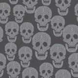 Nahtloses Muster mit dem Schädel Stockfotografie