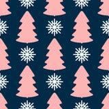 Nahtloses Muster mit dem Wiederholen von farbigen Schattenbildern von Schneeflocken und von Weihnachtsbäumen Druck des neuen Jahr lizenzfreie abbildung