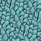 Nahtloses Muster mit den Blättern hergestellt in der grafischen Art vektor abbildung