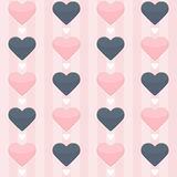 Nahtloses Muster mit den blauen und rosa Herzen auf einem Rosa stock abbildung