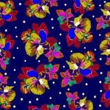 Nahtloses Muster mit den Blumen, dunkelblau Lizenzfreie Stockfotografie