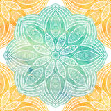 Nahtloses Muster mit den Blumen- und ethnischen Elementen Rundes Kaleidoskop Lizenzfreie Stockfotos