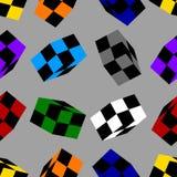 Nahtloses Muster mit den farbigen Schach-Würfeln lokalisiert auf grauem Hintergrund Vektorabbildung für Ihr design vektor abbildung