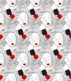 Nahtloses Muster mit den Gesichtern der Frauen Stockfotos