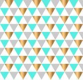 Nahtloses Muster mit den goldenen, grauen, grünen Dreiecken Moderner geometrischer Hintergrund vektor abbildung