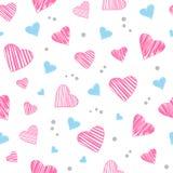 Nahtloses Muster mit den hellrosa und blauen Herzen Auch im corel abgehobenen Betrag stock abbildung