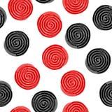 Nahtloses Muster mit den Lakritzsüßigkeitsrädern lokalisiert auf weißem Hintergrund stock abbildung