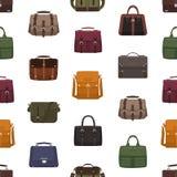 Nahtloses Muster mit den modischen Taschen oder den Handtaschen der Männer verschiedenen Arten auf weißem Hintergrund Hintergrund lizenzfreie abbildung
