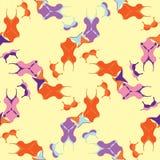 Nahtloses Muster mit den orange, purpurroten Badeanzügen Vektor illustrat Lizenzfreie Stockfotografie
