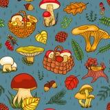 Nahtloses Muster mit den Pilzen blau Lizenzfreies Stockfoto