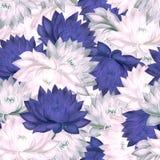 Nahtloses Muster mit den purpurroten und rosa Seerosen Stockfoto