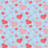 Nahtloses Muster mit den rosa Herzen nach dem Zufall gesetzt stock abbildung
