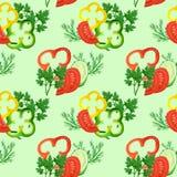 Nahtloses Muster mit den Roten, Gelben, des grünen Paprikas Ringen des Aquarells, den Tomaten, den Gurken und den Grüns lizenzfreie abbildung