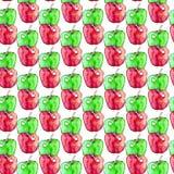 Nahtloses Muster mit den roten und grünen Aquarelläpfeln Lizenzfreie Stockfotografie