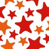 Nahtloses Muster mit den Roten und Orangensternen Abstrakter Wiederholungshintergrund, bunte Karikaturillustration stock abbildung