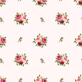 Nahtloses Muster mit den roten und rosa Rosen Auch im corel abgehobenen Betrag Lizenzfreies Stockbild
