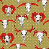 Nahtloses Muster mit den Schädeln von Rotwild, von Stier, von Ziege und von Schafen Lizenzfreie Stockbilder