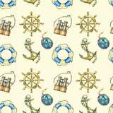 Nahtloses Muster mit den Seeelementen, lokalisiert auf gelbem Pastellhintergrund Altes binokulares, Rettungsring, antike Segelboo Stockbild