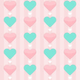 Nahtloses Muster mit den tadellosen und rosa Herzen auf einem Rosa Lizenzfreie Stockfotografie