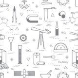 Nahtloses Muster mit der Vielzahl wissenschaftlich, Bildungselemente: Di Stockfoto