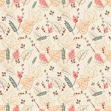 Nahtloses Muster mit digitalem Herbstlaub stock abbildung