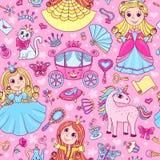 Nahtloses Muster mit drei netten kleinen Prinzessinnen Lizenzfreie Stockfotografie